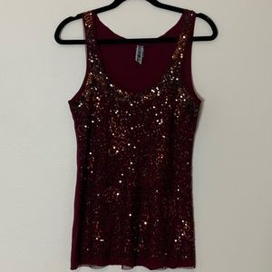 BKE Maroon sparkly tank